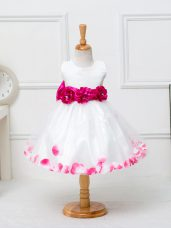 Scoop Sleeveless Zipper Little Girl Pageant Dress White Tulle