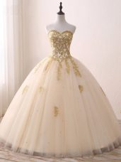 Ball Gowns Quinceanera Dress Champagne Sweetheart Tulle Sleeveless Floor Length Lace Up