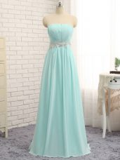 Fantastic Apple Green Empire Chiffon Strapless Sleeveless Appliques and Ruching Floor Length Zipper Bridesmaid Gown