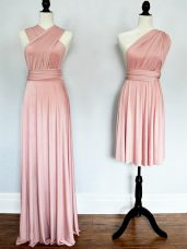 Custom Fit Sleeveless Floor Length Ruching Lace Up Damas Dress with Pink