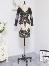 Simple V-neck Long Sleeves Lace Mother of the Bride Dress Lace and Appliques Zipper