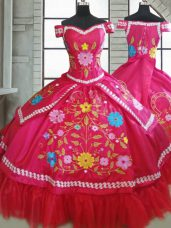 Hot Pink Short Sleeves Floor Length Beading and Embroidery Lace Up Ball Gown Prom Dress