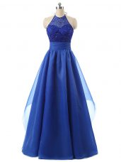 Floor Length Zipper Homecoming Dress Blue for Prom and Military Ball with Beading and Ruffles