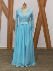 Lace Mother of Groom Dress Baby Blue Backless Long Sleeves Floor Length