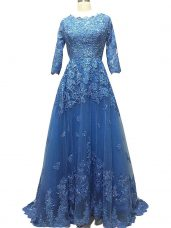 Modest Blue Empire Tulle Scalloped 3 4 Length Sleeve Lace and Appliques Zipper Prom Gown Brush Train