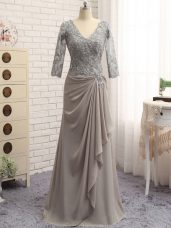 Best Selling Grey Mother Dresses Prom and Party and Beach and Wedding Party with Lace and Appliques V-neck Long Sleeves Zipper