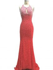 Sleeveless Beading Criss Cross Evening Dress with Red Brush Train