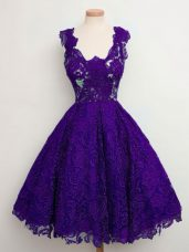 Dramatic Purple Quinceanera Dama Dress Prom and Party and Wedding Party with Lace Straps Sleeveless Lace Up