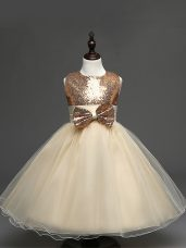 Sweet Scoop Sleeveless Party Dress Wholesale Tea Length Sequins and Bowknot Champagne Tulle