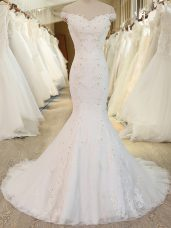 Sleeveless Brush Train Zipper Beading and Appliques Bridal Gown