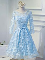 Flare Knee Length A-line Long Sleeves Baby Blue Prom Evening Gown Lace Up