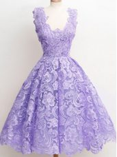 Knee Length Lavender Wedding Guest Dresses Straps Sleeveless Zipper