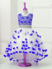 On Sale Blue And White Zipper Scoop Appliques and Sequins Child Pageant Dress Tulle Sleeveless