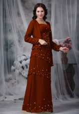 Hot Selling Brown Sleeveless Floor Length Beading Zipper Mother of the Bride Dress