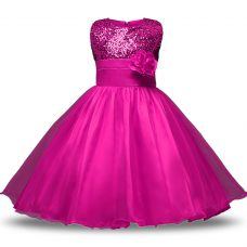 Strapless Sleeveless Toddler Flower Girl Dress Knee Length Bowknot and Belt and Hand Made Flower Fuchsia Organza and Sequined