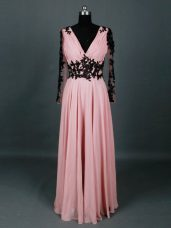 Pink Empire Chiffon V-neck Long Sleeves Lace and Appliques Floor Length Zipper Mother of Groom Dress