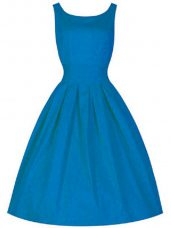 Blue A-line Ruching Bridesmaids Dress Zipper Taffeta Sleeveless Knee Length