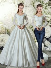 White Bridal Gown V-neck Long Sleeves Brush Train Lace Up