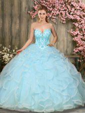 Vintage Sweetheart Sleeveless Lace Up Sweet 16 Dresses Aqua Blue Tulle