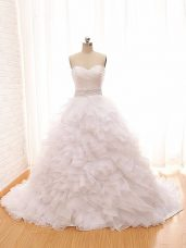 Best Selling White Wedding Gown Wedding Party with Beading and Ruffles Sweetheart Sleeveless Brush Train Lace Up