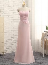 Floor Length Baby Pink Dama Dress for Quinceanera Chiffon Sleeveless Lace