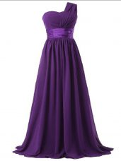 Colorful Sleeveless Lace Up Floor Length Ruching Quinceanera Court Dresses