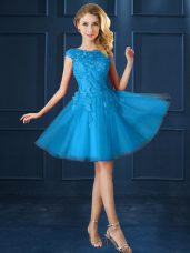 Bateau Cap Sleeves Tulle Bridesmaid Gown Lace and Belt Lace Up