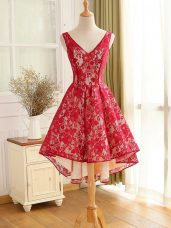 Edgy V-neck Sleeveless Junior Homecoming Dress High Low Lace and Appliques Red Lace