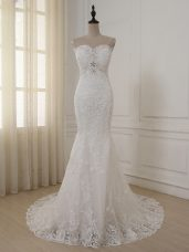 Sleeveless Brush Train Lace and Appliques Zipper Wedding Dress