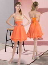 Beauteous Orange Chiffon Lace Up Sweetheart Sleeveless Mini Length Evening Dress Beading