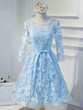Long Sleeves Mini Length Beading and Appliques Lace Up Prom Party Dress with Light Blue