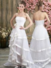 Sleeveless Tulle Sweep Train Backless Wedding Gowns in White with Ruffled Layers and Belt