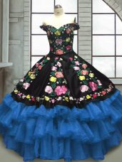 Excellent Organza and Taffeta Sweetheart Sleeveless Lace Up Embroidery and Ruffled Layers Quinceanera Dress in Blue And Black