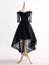 Pretty Tulle Straps Half Sleeves Lace Up Lace Prom Dress in Black