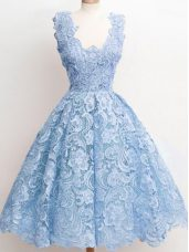 Adorable Light Blue Lace Zipper Straps Sleeveless Knee Length Wedding Guest Dresses Lace