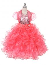 Scoop Sleeveless Lace Up Little Girls Pageant Dress Coral Red Organza