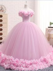 Off The Shoulder Sleeveless Tulle Quinceanera Gowns Hand Made Flower Brush Train Lace Up