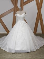 White Ball Gowns Organza Off The Shoulder Sleeveless Appliques Zipper Wedding Gown Court Train