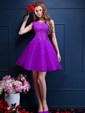 Eggplant Purple Bateau Lace Up Beading and Lace Wedding Party Dress Sleeveless