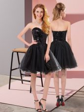 Sophisticated Tulle Sleeveless Mini Length Prom Dress and Sequins