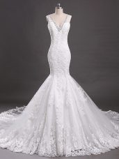 Beading and Lace Wedding Dress White Clasp Handle Sleeveless Court Train