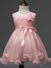 Affordable Tulle Sleeveless Knee Length Little Girl Pageant Gowns and Hand Made Flower