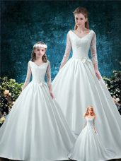 Modern V-neck 3 4 Length Sleeve Satin Quince Ball Gowns Lace and Belt Chapel Train Lace Up