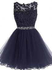 Hot Selling Sleeveless Mini Length Beading and Lace and Appliques and Ruffles Zipper Homecoming Dresses with Navy Blue
