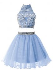Stylish High-neck Sleeveless Wedding Party Dress Knee Length Beading Light Blue Organza
