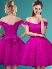 Fuchsia Cap Sleeves Lace and Belt Knee Length Dama Dress