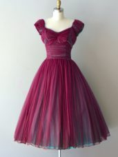 Burgundy Chiffon Lace Up V-neck Cap Sleeves Knee Length Dama Dress for Quinceanera Ruching