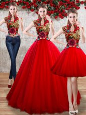 Floor Length Red Vestidos de Quinceanera Organza Sleeveless Appliques