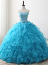 Sweetheart Sleeveless Lace Up Quinceanera Dress Baby Blue Organza