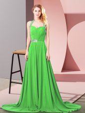 High End Sleeveless Chiffon Brush Train Zipper Prom Dresses for Prom and Military Ball and Sweet 16